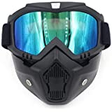 Easyinsmile Motorcycle Goggles with Detachable Mask,Road Riding UV Motorbike Glasses with Dustproof Mask,Windproof Cool…