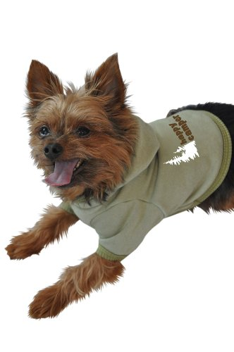 Ruff Ruff and Meow Dog Hoodie, Happy Camper, Green, Small
