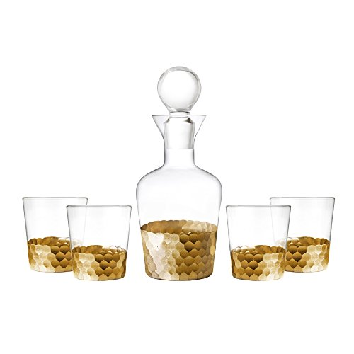 Floyd Old Fashioned - Fitz And Floyd Daphne Gold 5-piece Whiskey Barware Drinkware Set Decanter With 4 Double Old Fashioned Glasses