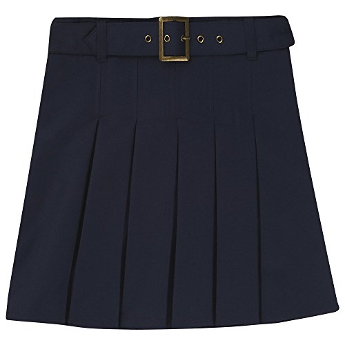 French Toast Big Girls' Pleated Scooter with Square Buckle Belt, Navy, 14 ()