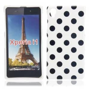 Dots Pattern TPU Protective Case for Sony L39H White Bottom Black Dots