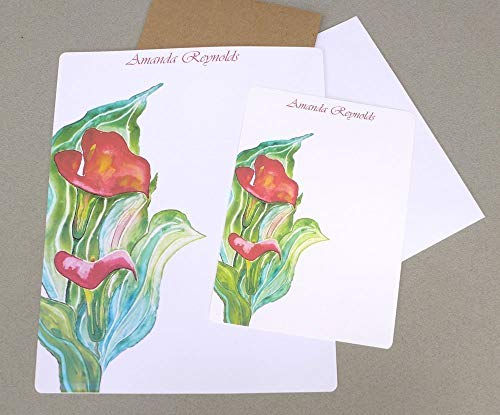 Women's Red Calla Lily Watercolor Complete Stationery Set With Envelopes, Girl's Floral Flat Note Cards, Custom Monogrammed Garden Writing Paper Kit