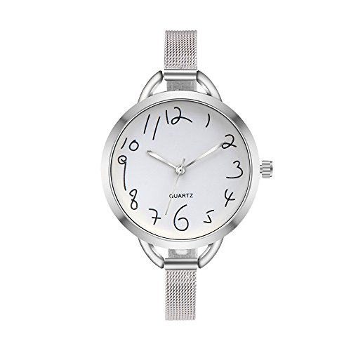 Women Quartz Watches COOKI Clearance Female Watches on Sale Cheap Lady Watches Stainless Steel Watch-H90 (Silver)