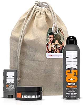 Ink The Original Essential Kit For Tattoo Skincare Large Tattoo Brightener Balm Sunscreen Spray Sunscreen Stick W Free Canvas Bag Amazon Sg Beauty