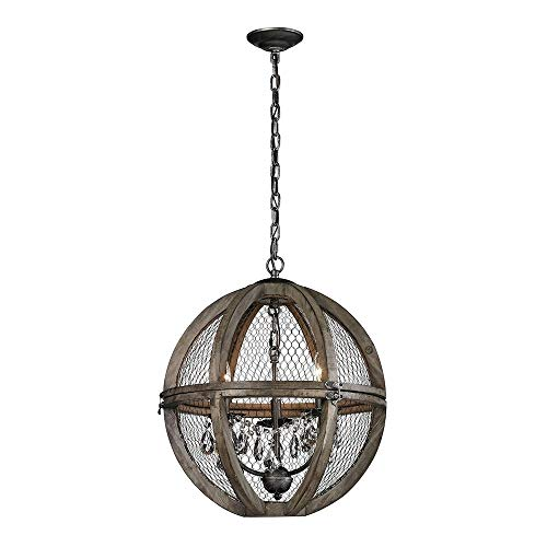 Dimond Home 140-007 Renaissance Invention - Three Light Small Chandelier, Aged Wood/Bronze Finish with Wire Mesh Shade with Clear Crystal