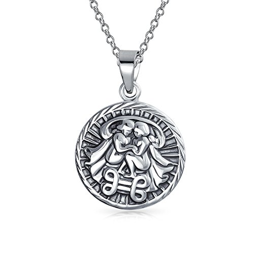 Bling Jewelry Large Gemini Zodiac Medallion Pendant Sterling Silver Necklace 18 - Pendant Zodiac Large
