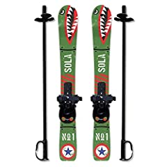 The new production from SOLA brand. These Plastic Kids Skis are good for Age 2 - 4 years old. This ski set is great for little ones to get to grips with skiing. They can be used with any soft ski boot and will give them confidence and also gr...
