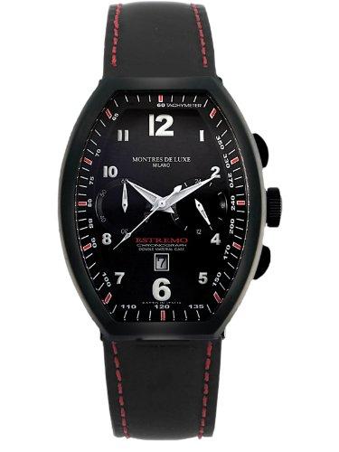 Montres De Luxe Men's EXN 8003 Estremo Black Titanium and Aluminum Luminous Leather Date Watch