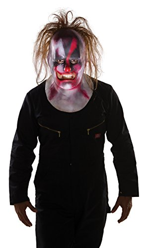 Men's Slipknot Clown Full Mask with Hair, Multi, One Size