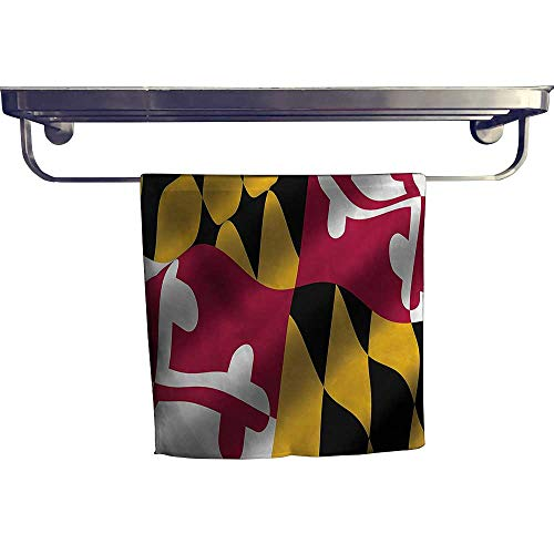 Maryland Holder Clip Paper (HoBeauty home Sports Ttowel, Flag of The US State of Maryland Close Up Picture Waving American,Ultra Soft, Cozy and Absorbent W 20