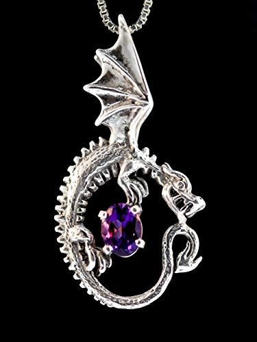 Dragon Necklace Silver Game of Thrones Inspired Dragon Necklace Oracle Dragon Necklace with Gemstone Dragon Pendant Dragon Charm Dragon Jewelry