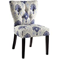 AVE SIX Andrew Upholstered Armless Accent Chair with Wood Legs, Medallion Ikat Blue