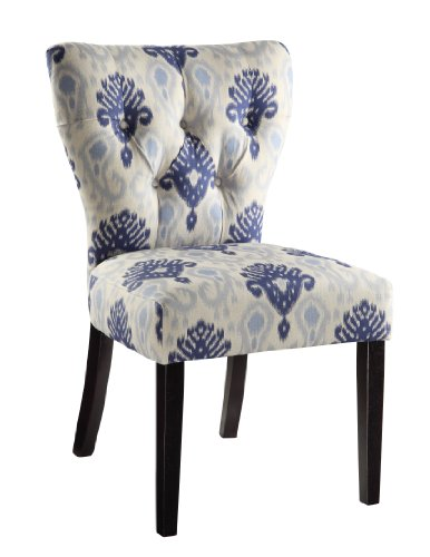 AVE SIX Andrew Upholstered Armless Accent Chair with Wood Legs, Medallion Ikat Blue (Medallion Dining Chair)