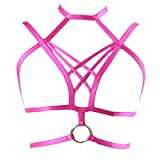 BodyHSS Wedding Harness Bra Womens Exotic Strappy Caged Lingerie TOP Elastic Dress (Type A),Large