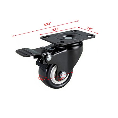 Do4U 2 ''Swivel Caster Polyurethane Foam No Noise Wheels Rubber Base with Top Plate & Bearing Heavy Duty 440lbs Black Set of 4 (2 Without Brake, 2 with Brakes) (4 with Brakes)