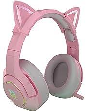 HNQH Cute Cat Ear Headset, Pink Wired Game Headset met Microfoon & RGB Light Verwijderbare Cat Ear Headphone 7.1 Stero Headset voor Computer Notebook