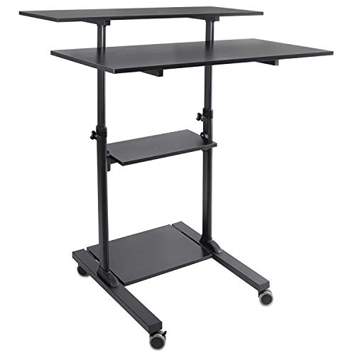 - Mount-It! Wide Mobile Stand Up Desk | Height Adjustable Rolling Workstation with 40