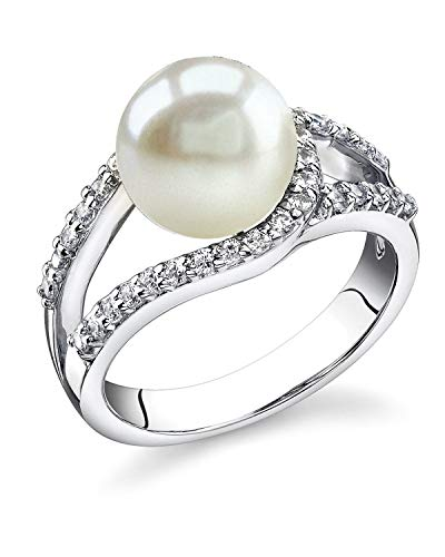 - THE PEARL SOURCE 9-10mm Genuine White Freshwater Cultured Pearl Tessa Ring for Women