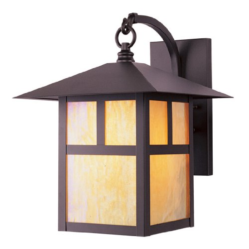10 Brass Solid Light - Livex Lighting 2133-07 Montclair Mission 1 Light Outdoor Bronze Finish Solid Brass Wall Lantern with Iridescent Tiffany Glass