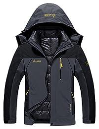 Mens 3-in-1 Outdoor Coats Waterproof hooded Jacket with Detachable Cotton Liner
