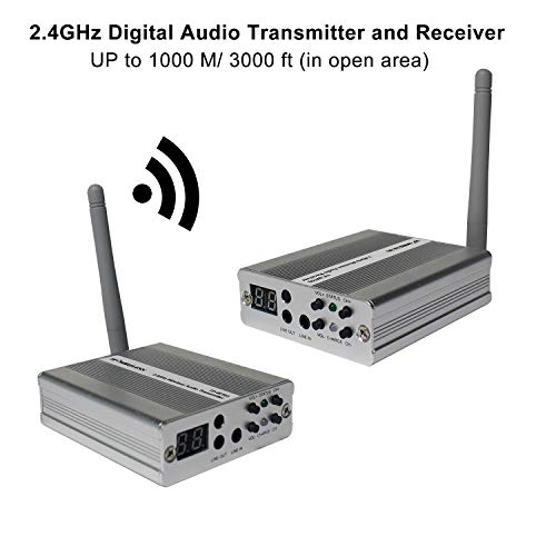 2.4 Wireless Transmitter Ghz - TP-WIRELESS 2.4GHz Long Range Digital Wireless HDCD Audio Adapter Music for Subwoofer and Active Speaker (3000ft 1 Transmitter and 1 Receiver)
