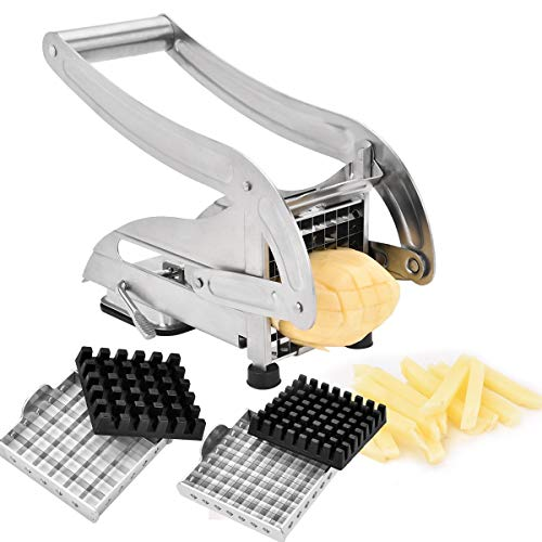 French Fry Cutter, CUGLB Stainless Steel Potato Chipper with Two Size Interchangeable Blades, Potato Slicer for Vegetables Like Cucumber Carrot Yams, Convenient Home Kitchen Tool