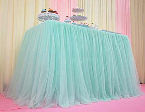 Antuen 1 Yard 3 Layers Mesh Tutu Tulle Table Skirt Lace Tablecloth Cover for Party Decoration, Birthdays, Wedding, Baby Shower Tiffany Blue (Lace Tiffany)