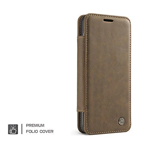 JIALUN-Caja del teléfono o cubierta Funda de piel billetera y 360 Ringer Ring Funda desmontable para CaseMe Samsung Galaxy S8 Protege tu teléfono ( Color : Brown ) Brown