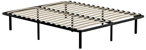 Handy Living Platform Bed Frame - Wooden Slat Mattress Foundation/Box Spring Replacement, Queen