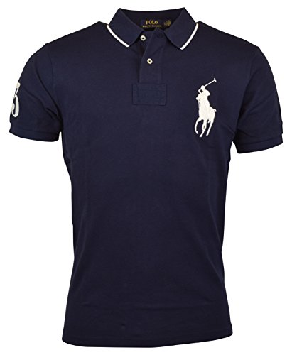 Polo Ralph Lauren Men's Custom Fit Big Pony Logo Polo Shirt (XL, Navy) (Custom Fit Polo)
