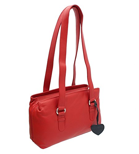 Shoulder Black Zip 75 Anishka Bag Mala Triple Collection Leather 758 Red FXqOfq