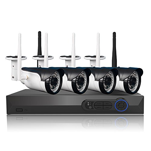 960P Wireless Wifi Video Security Network Camera System 4CH 1080P NVR 4PCS 1.3MP IP CCTV Cameras Cam recorder Home Business Office Surveillance Waterproof Outdoor Indoor Night Vision Motion Detection by Masione
