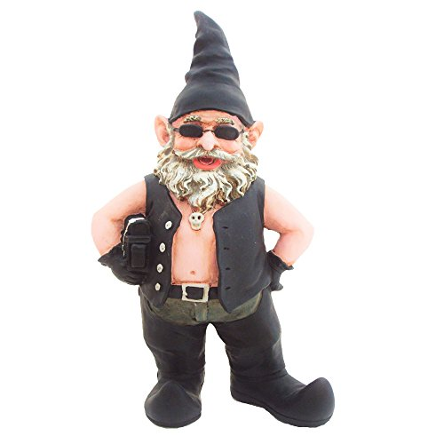 Nowaday Gnomes Biker Dude the Biker Gnome in Leather Motorcycle Riding Gear Holding His Saddlebag Home & Garden Figurine Statue 8.5