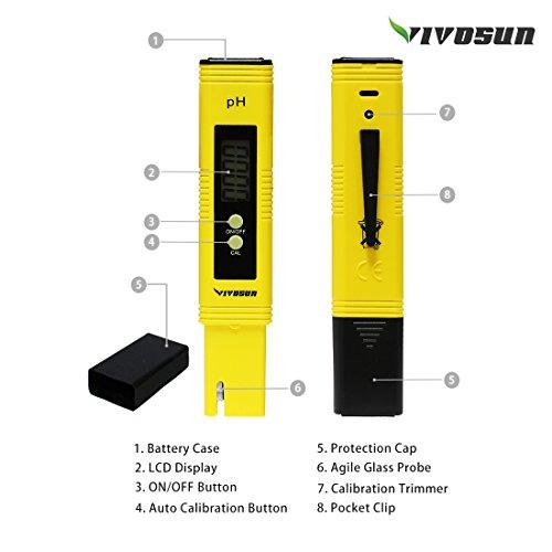 41TamUaMtDL - VIVOSUN PH Meter Digital PH Tester Pen for Water