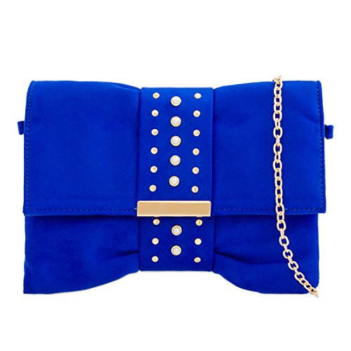 Pearl Chain Slouch Diamante Strap Bow Fold Women's Prom Handbags Clutch Faux Shaped Suede London Over Ladies Blue Closure Evening Xardi Party Medium Royal Sized FzxwqT8