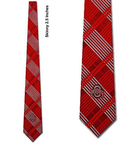 - Ohio State Skinny Plaid Poly Necktie