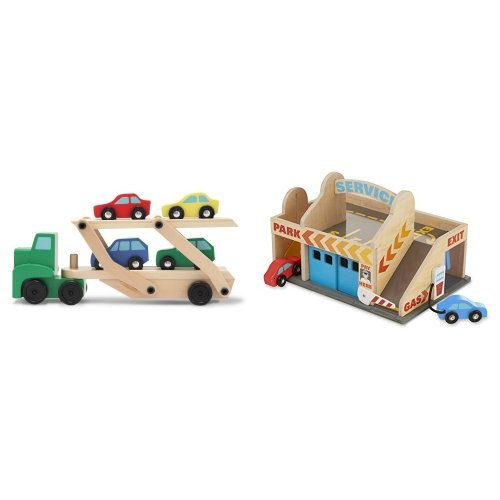 Melissa & Doug Car Carrier & Service Station Garage Bundle (Melissa And Doug Car Carrier)