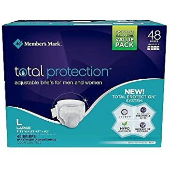 Members Mark Total Protection Adult Briefs for Men & Women, Large 48 ct. (Pack of 3) A1