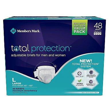 Member's Mark Total Protection Adult Briefs for Men & Women, Large (48 ct.)]()