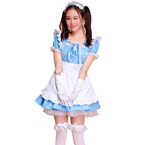 LPATTERN Women's Adult Anime Cosplay French Maid Apron Fancy Dress Costume, Light Blue, L]()
