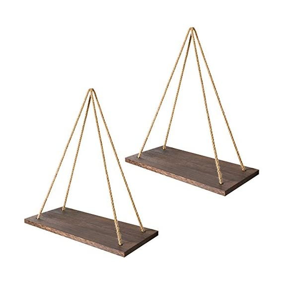 Mkono Boho Wall Hanging Shelf, Set of 2 Wood Floating Shelves for Wall Rustic Rope Shelves Plant Shelf Farmhouse Decor for Living Room Bathroom Bedroom Kitchen Apartment - ✔ Home decor & organizer- Set of 2 wood hanging shelves are the perfect piece for any rustic, modern, or natural home decor. Hung with natural jute, they have a unique, rustic charm. They allow to better organize spaces and to put all sorts of things on display. They are perfect choice for adding additional shelving space for collectibles, plants, crafts, photos and more. Their simplicity makes them versatile! ✔ Premium quality wall shelves- Made of paulownia wood, jute rope,The wood board is under anti-mildew treatment so it can not be moldy.Perfect for displaying potted plants, family photos, collectibles and so much more. The props in the picture are not included. ✔ multipurpose floating shelves- Rope hanging shelves are great wood wall decor for your kitchen dining room, living room, bedroom, farmhouse, apartment, dorm room, or office. Alternatively, they can be hung on the wall, in front of a window, on the window or on a terrace, indoor or outdoor. - wall-shelves, living-room-furniture, living-room - 41TamvXOulL. SS570  -