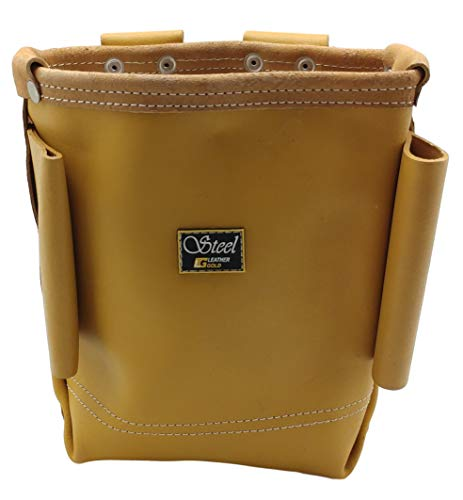 Leather Gold Premium Leather Bolt Bag with Bull-Pin Loops   Professional Ironworker Bolt Bag 3800, Yellow   Commercial Grade Sliding Tool Belt Accessory   Durable, Strong Pouch