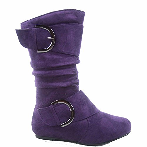 Lucky Top Youth Kid's Girl's Mid-Calf Flat Slouch Zipper Boots (1, Purple)