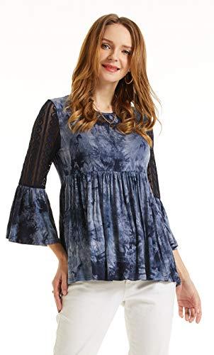 SONJA BETRO Women's Knit Lace 3/4 Bell Ruffle Sleeve Empire Waist Babydoll Keyhole Back Medium