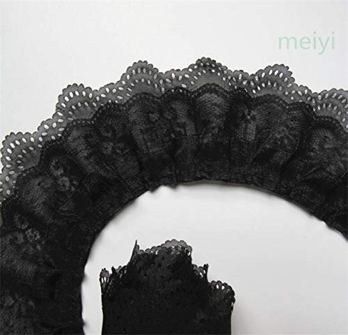 Black Silk Organza Pleated Dress - Laliva 10 Yard 65mm 3-Layer Pleated Organza Lace Ribbon Gathered Mesh Chiffon Fabric Handmade DIY Wedding Dress Lace Trim Sewing Craft - (Color: Black)