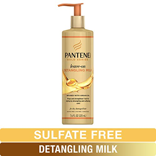 (Pantene, Detangling Milk Hair Treatment, Sulfate Free, Pro-V Gold Series, for Natural and Curly Textured Hair, 7.6 fl)