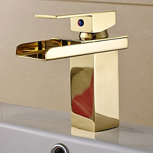 Senlesen Comteporary Style Waterfall Single Handle Basin Vanity Sink Vessel Bathroom Faucet Mixer Tap,Gold Finished