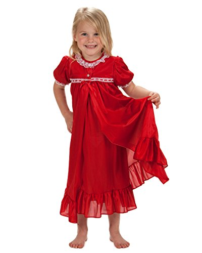 Laura Dare Little Girls Red Short Sleeve Tradition Peignoir Set, 5 -