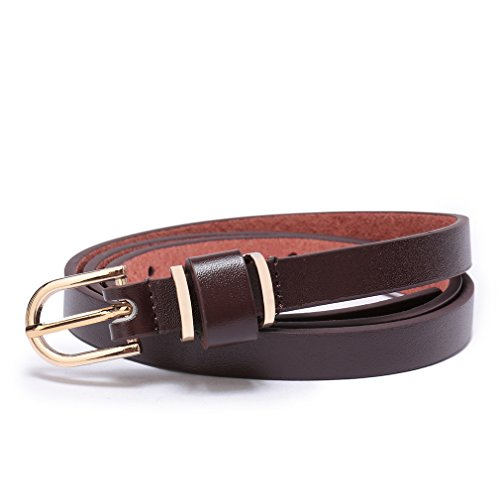 Skinny Hip Belt - Set of 5 Women's Skinny Leather Belt Solid Color Waist or Hips Ornament 10 Sizes (40-42, Coffee 1/2