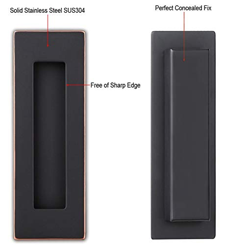 Sehrgut Flush Pull Handle (2 Pack) 6'' Rectangular Plated Oil Rubbed Bronze, Free of Sharp Edge, for Sliding Pocket Barn Door or Cabinet by Sehrgut (Image #2)